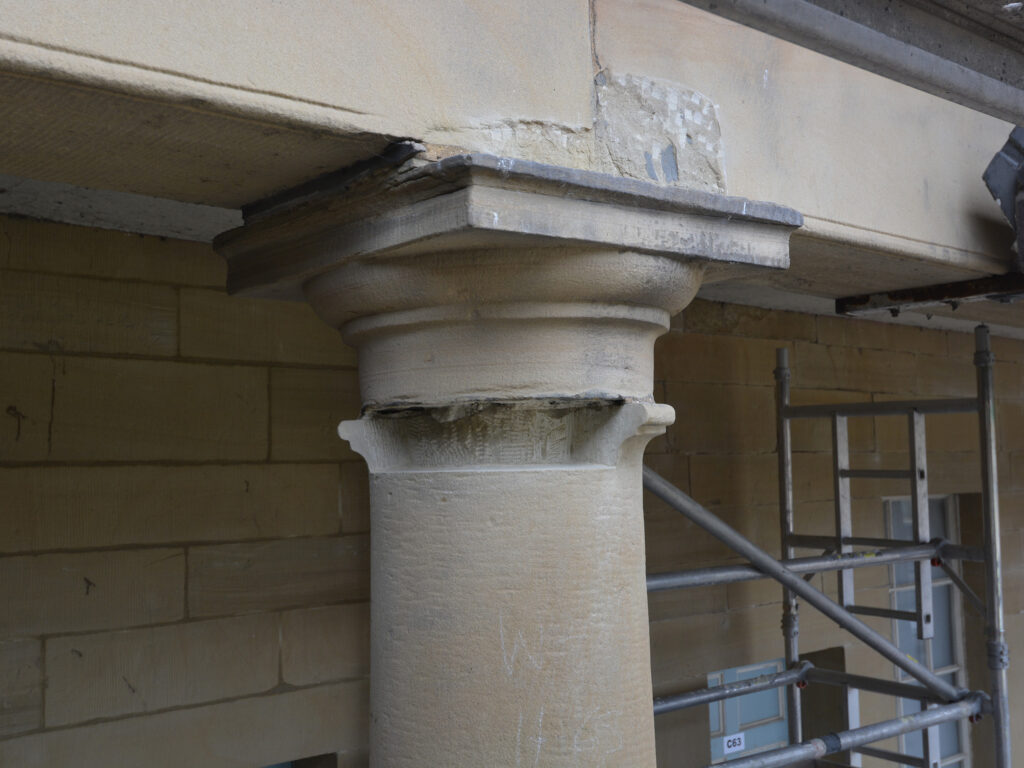 Stone Edge Piece Hall Colonnade Column Repaired Stone Astragal Indent Cut Out
