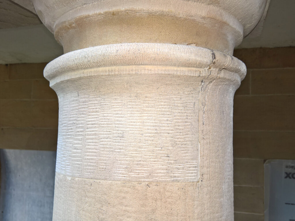 Stone Edge Piece Hall Colonnade Column Repaired Astragal and Shaft